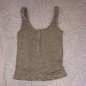 Ribbed Striped Snap Button Tank Top